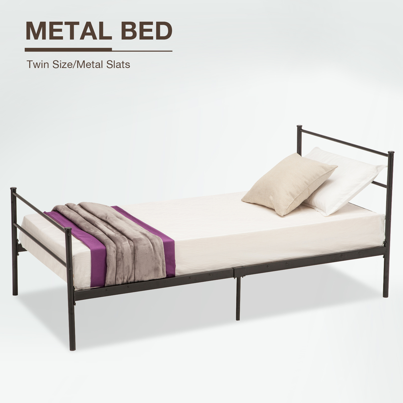 5c68f41f19e8b Mecor Metal Bed Frame Platform With Headboard Footboard 10 Legs Furniture  Black