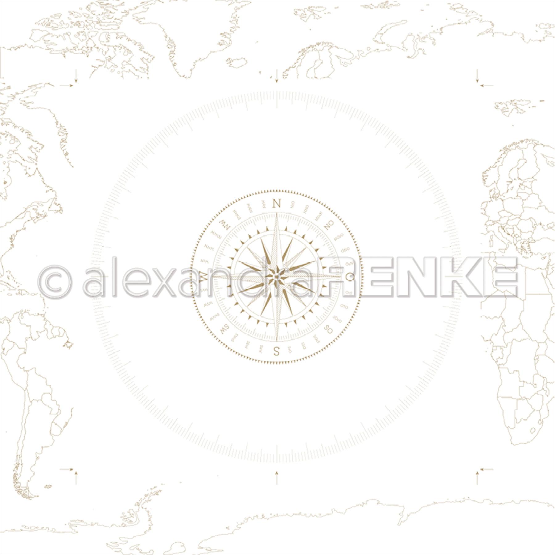 """Alexandra Renke Travel Design Paper 12""""X12""""-Windrose"""