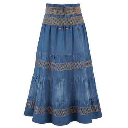 Women's Tiered A-Line Denim Boho Prairie Skirt, Xx-Large,