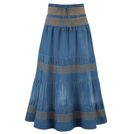 Juniors Denim Mini Skirt - Women's Tiered A-Line Denim Boho Prairie Skirt, Xx-Large, Denim