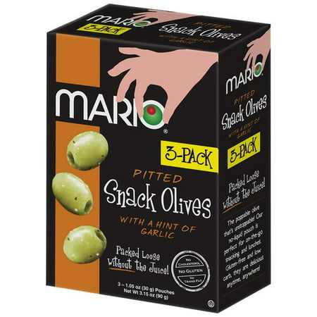 (4 Pack) Mario Pitted Snack Olives with a Hint of Garlic, 1.05 oz, 3 (Best Of Mt Olive)