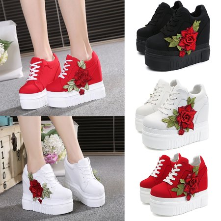 Meigar Women Casual Shoes Lace High Platform Sneakers Shoes - image 5 of 5
