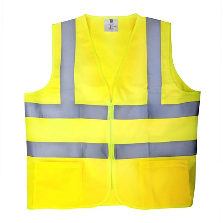 TR Industrial Neon Yellow High Visibility Front Zipper Safety Vest Siz