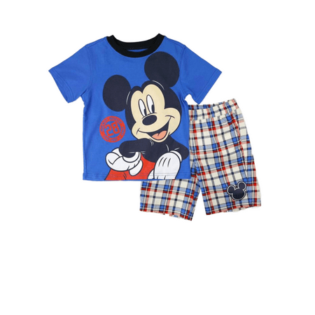 Disney Infant & Toddler Boys Blue Mickey Mouse Baby Outfit Plaid Shorts Set
