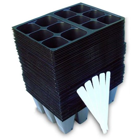 Black Gold Seedling - 720 Cells Seedling Starter Trays for Seed Germination +5 Plant Labels (120, 6-cell Trays)