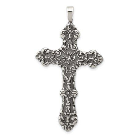 925 Sterling Silver Cross Religious Pendant Charm Necklace Fleur De Lis Fine Jewelry Ideal Gifts For Women Gift Set From Heart (Fleur De Lis Silver Pendant)