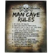 Tin Metal Skull&Crossbones MAN CAVE RULES Sign Garage/Pub/Bar/Tavern Wall Decor