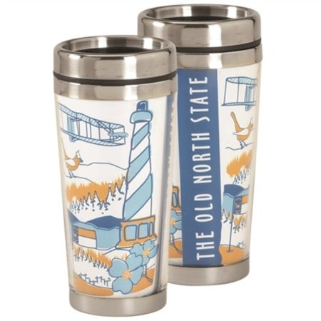 North Carolina Old North State Blue 16 ounce Stainless Steel Metal Travel Mug