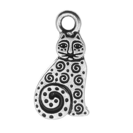 Fine Silver Plated Pewter Art Spiral Cat Charm 19mm (Cat Charm)