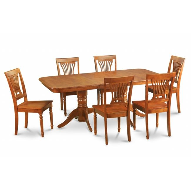 East West Furniture NAPL7-SBR-W 7pc Napoleon Double Pedestal Table and 6 Plainville Wood Chairs