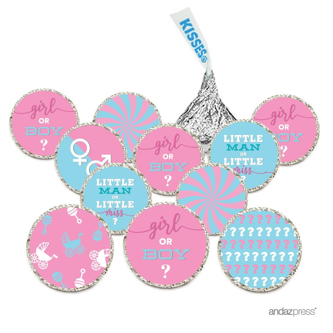 Chocolate Drop Labels, Fits Hershey's Kisses, Gender Reveal Baby Shower Collection, Pink and Baby Blue, 216-Pack