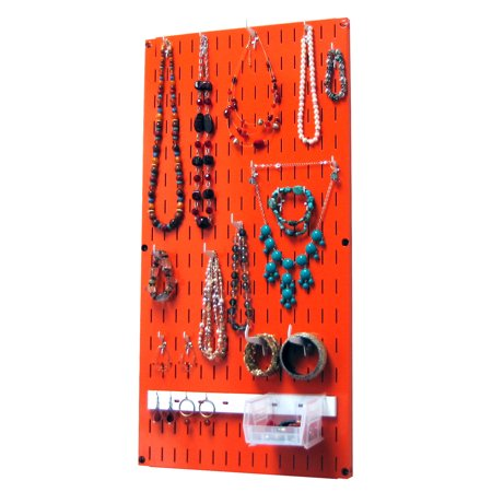 Jewelry Organizer Wall Hanging Jewelry Holder Necklace Rack ?Çô Orange Wall Mounted Jewelry Organizer System The Jewelry Organizer Kit is a Wall-Mounted Jewelry Holder Organizer that offers high quality jewelry hanging storage and organization for necklaces, bracelets, earrings and other jewelry pieces and accessories. This wall-mounted hanging jewelry holder organizer is not only highly-functional but also easy to install and high-quality when it comes to appearance and construction. Wall Control has created a Jewelry Organizer for the jewelry collector that takes pride in their collection. Unlike cheaply made hanging vinyl jewelry organizers and jewelry holders, this jewelry organizer has a strong and durable, yet chic metal construction that features a high-quality powder-coated finish that will last a lifetime. This jewelry organizer is also magnetic so you can utilize all of your magnetic jewelry organization accessories such as magnetic jewelry organizers and magnetic mirrors. The Wall Control Jewelry Organizer offers over 3.5 square feet of wall-mounted jewelry storage and organization and thanks to the modular design, you can order more units to create a larger area as your jewelry collection expands. Wall Controls hanging jewelry organizer jewelry holder also accepts all of Wall Controls chic slotted hooks, shelves, bins, and accessories to cover all of your jewelry storage and organization needs today and in the future. (1) Orange 10-P-3216 - 32in T x 16in Wide Jewelry Organizer Slotted-Only Wall-Panel, (10) 1in Jewelry Holder Hooks, (4) 2in Jewelry Holder Hooks, (2) Curved Tip Jewelry Holder Hooks, (1) 14in Accessory Jewelry Hanger, (1) Hanging Jewelry Storage Bin. Accessories in White. Mounting Hardware and Instructions Included. Mounting hardware consists of (6) #12 Screws & (6) Drywall Anchors.