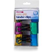 Officemate 1533767 Easy Grip Metallic Binder Clips, Medium - Pack of 12