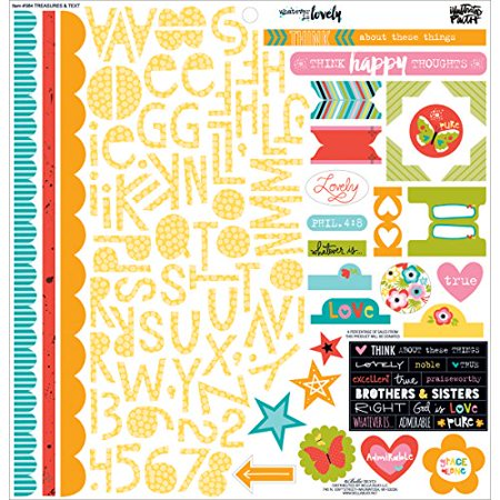 Bella Blvd Illustrated Faith Whatever Is Lovely Collection 12 X 12 Cardstock Stickers Treasures and Text