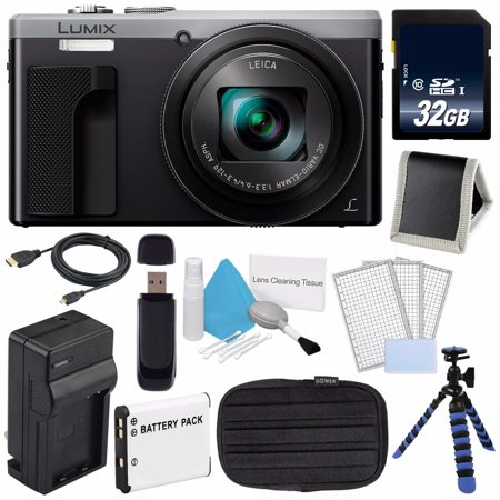 Panasonic LUMIX 4K DMC-ZS60 Digital Camera (Silver) (International Model) No Warranty + DMW-BLE9 Replacement Battery + Small Case + Charger + Mini HDMI Cable + 32GB SDHC Class 10 Memory