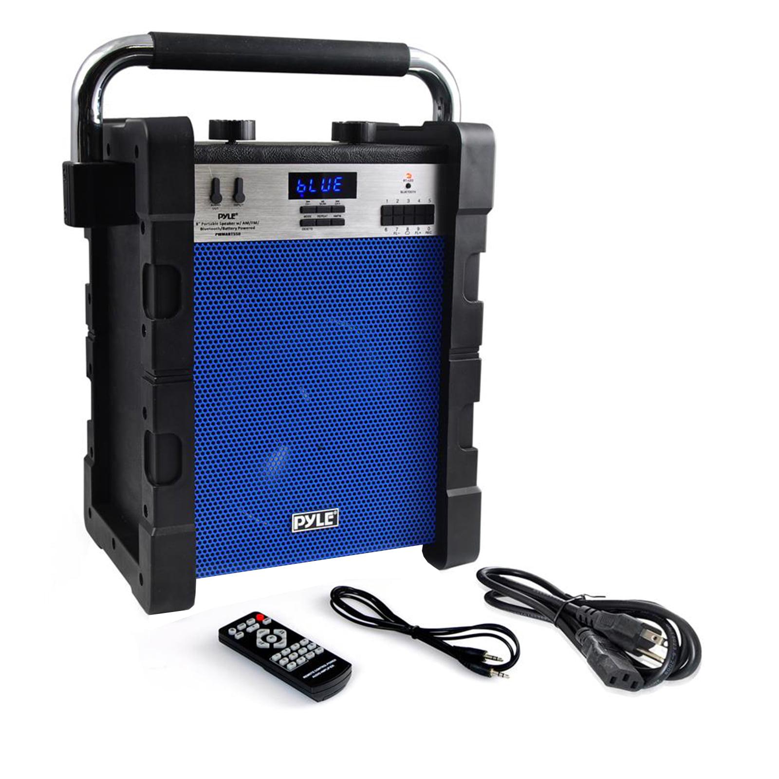 BT Rugged & Portable Speaker System, Work / Job Site Stereo, Built-in Battery, MP3/USB/SD, AM/FM Radio (Blue)