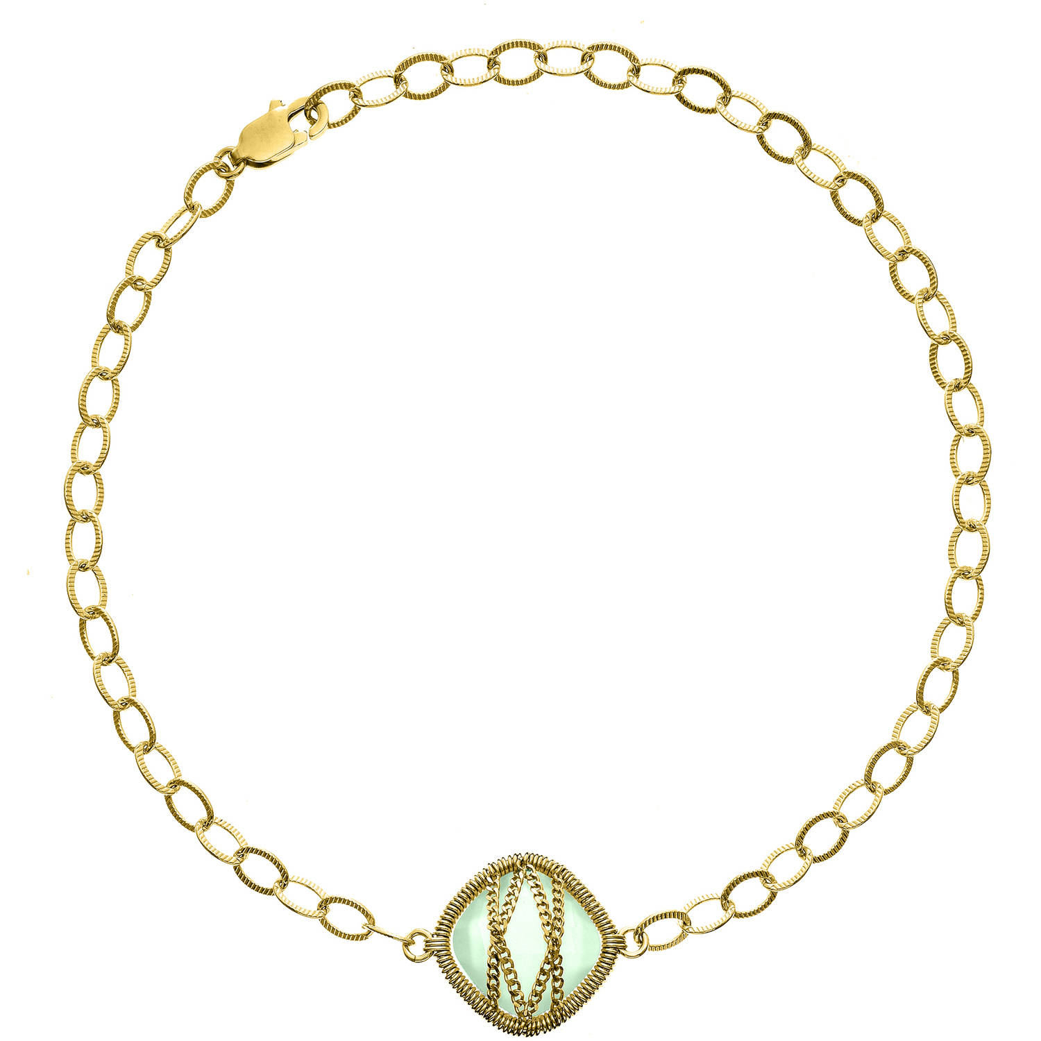 5th & Main 18kt Gold over Sterling Silver Hand-Wrapped Single-Squared Chalcedony Stone Bracelet by Generic