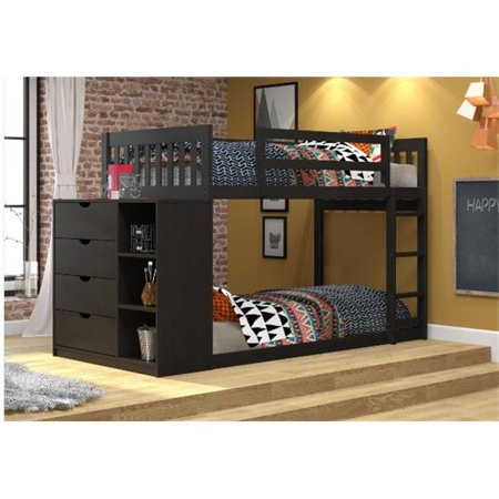 Pivot Direct PD-1600-TTBB Mission Twin over Twin Chest & Storage Bunk Bed, Black & Brown