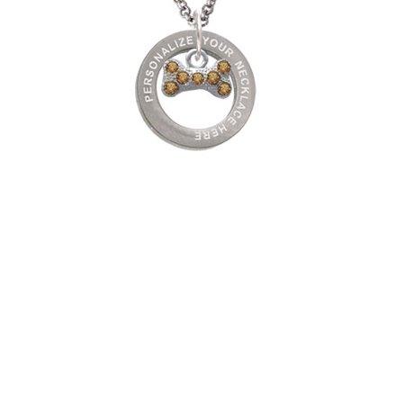 Silvertone Mini Brown Crystal Dog Bone Custom Engraved Affirmation Ring Necklace
