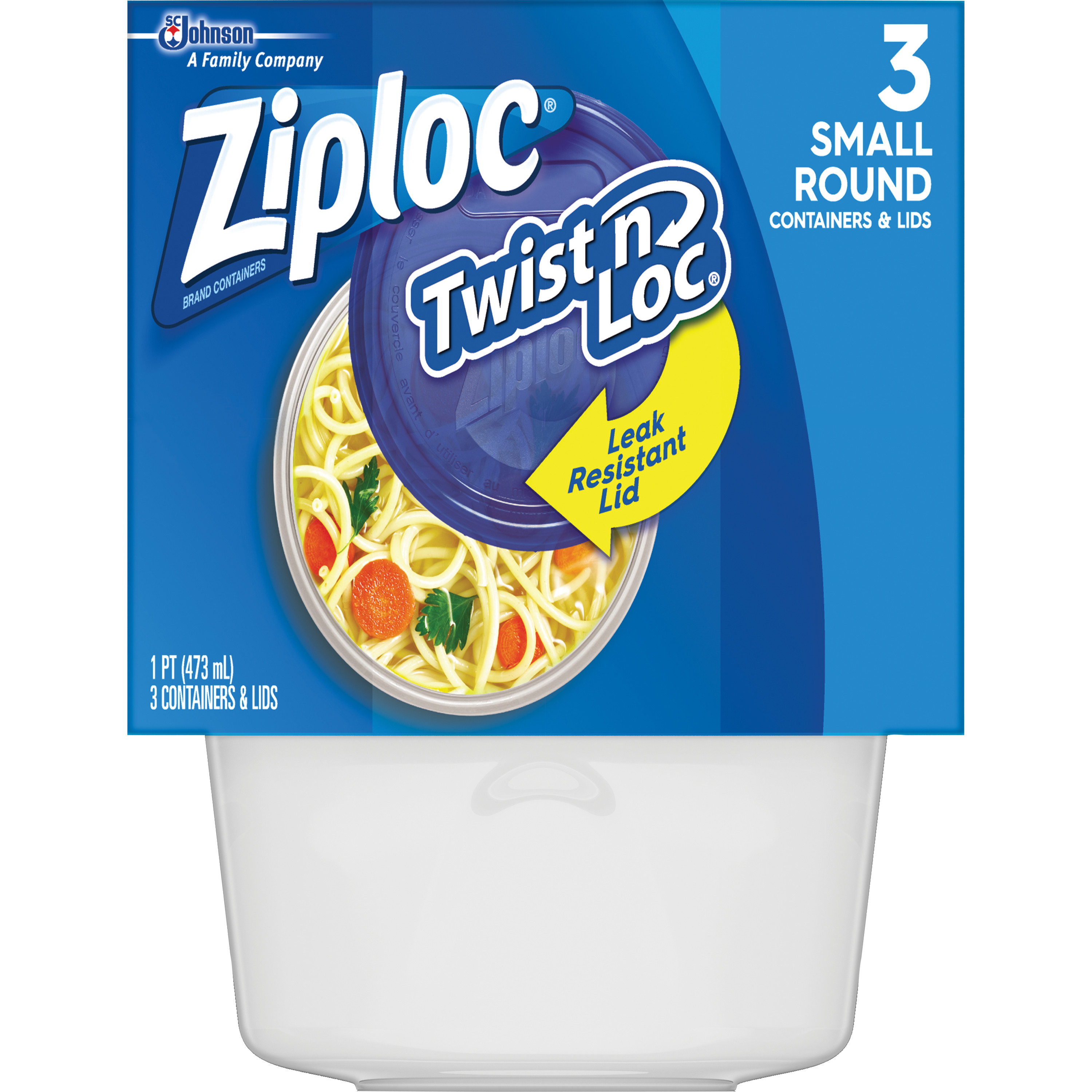 Ziploc Twist'n Loc Round Container Small 2 Cup, 3 count