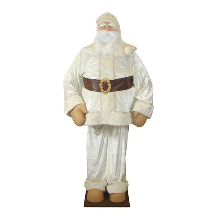 Vickerman 6' Christmas Standing or Sitting Velvet Santa Clause Figure - Cream ()