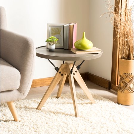 Safavieh Farmond Indoor/Outdoor Mid-Century Concrete Round Side Table