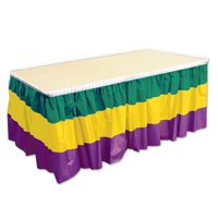 "52170-GGP Mardi Gras Table Skirting, 29"" x 14', Green/Yellow/Purple, This item is a great value! By Beistle"