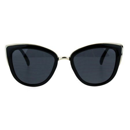 Womens Gothic Retro Oversize Cat Eye Fashion Sunglasses All Black