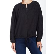 Free People NEW Black Women's Size Small S Blouse Eyelet Knit Illusion