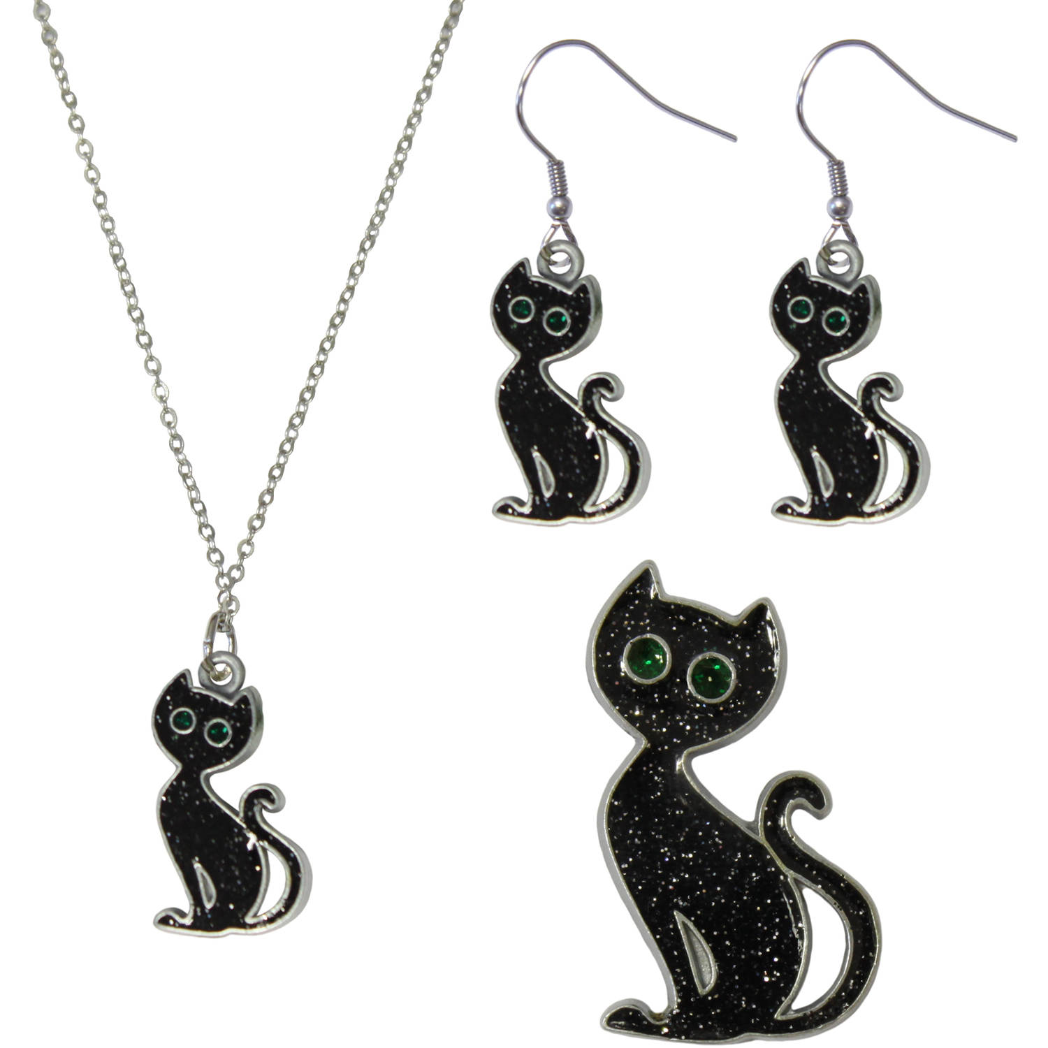 Gloria Duchin Black Cat Necklace, Earrings and Pin Jewelry Set