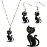 Gloria Duchin Black Cat Necklace, Earrings and Pin Jewelry Set