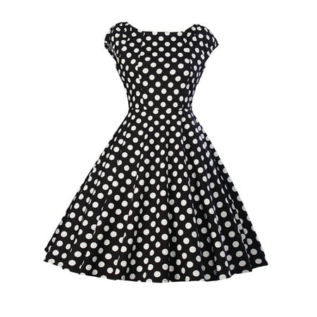 Women Vintage 1950s 60s Sleeveless Dress Retro Polka Dot Rockabilly Prom Swing Pinup Casual Evening Cocktail Ball Gowns
