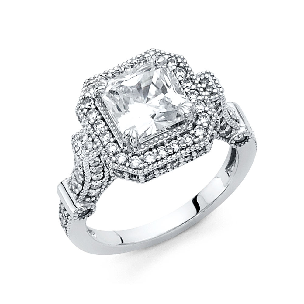 Paradise 14K Solid White Gold Classic Traditional Princes...