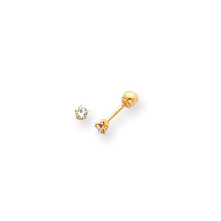 Kids 14k Yellow Gold & Crystal Reversible 3mm Ball Screw Back Earrings