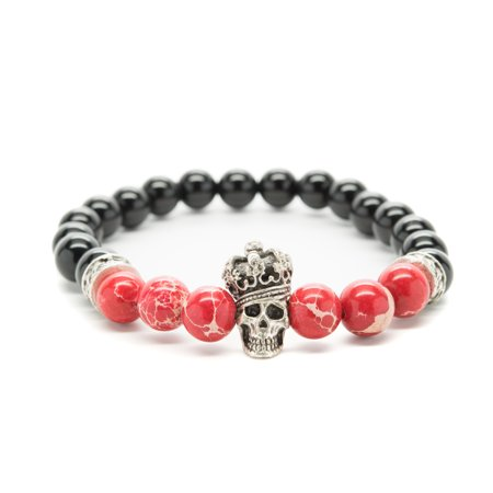 Black And Red Onyx Variscite with Skull Crown Beaded Mens Stretch (Mexican Onyx Bracelet)
