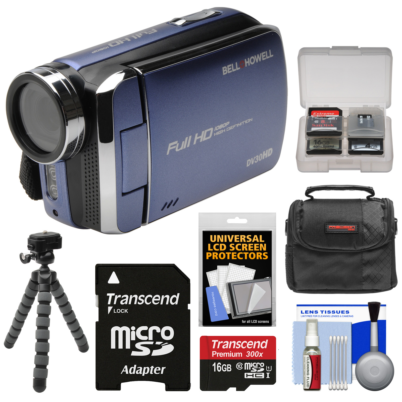 Bell & Howell DV30HD 1080p HD Digital Video Camera Camcorder (Blue) with 16GB Card + Case + Flex Tripod + Kit