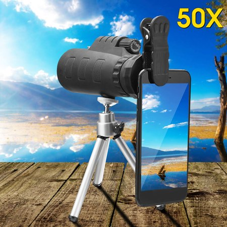 50X HD Zoom Cellphone Monocular Telescope Night Vision Hunting Camping + Clip + Tripod For Mobile Phone (Best Telescope With Smartphone)