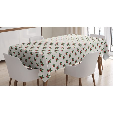 Christmas Table Decoration (Christmas Decorations Tablecloth, Holly Berries Mistletoe Fruit Pattern Seasonal Symbol of Peace, Rectangular Table Cover for Dining Room Kitchen, 60 X 84 Inches, Red Green White, by)