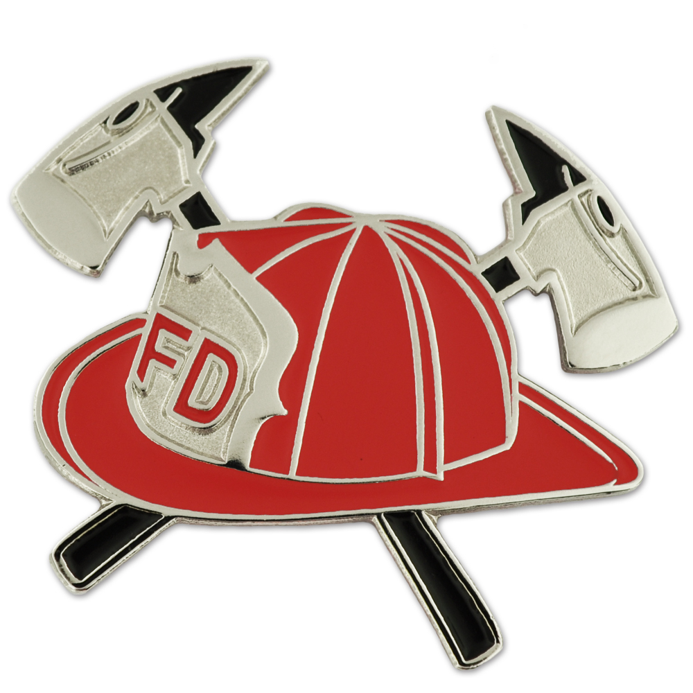 Pinmart s Red Fireman Hat with Axes Fire Department Ename...