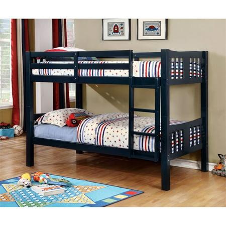 Furniture Of America Yasmine Twin Over Twin Bunk Bed In Dark Blue