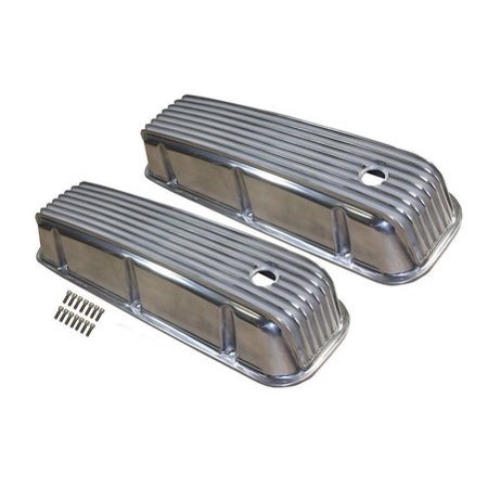 BBC BIG BLOCK CHEVY TALL FINNED POLISHED ALUMINUM VALVE COVERS 396 427 - Polished Compressor Cover