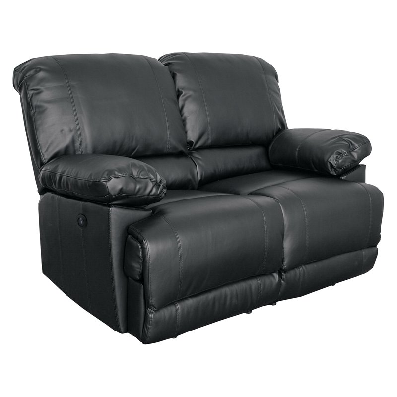 CorLiving Bonded Leather Power Reclining Loveseat With USB Port