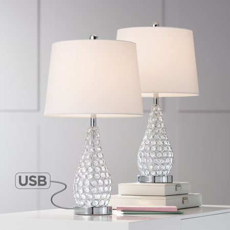 360 Lighting Modern Accent Table Lamps Set of 2 with USB Charging Port Chrome Empire Shade for Living Room Family Bedroom (Lamp Park Lights Set)