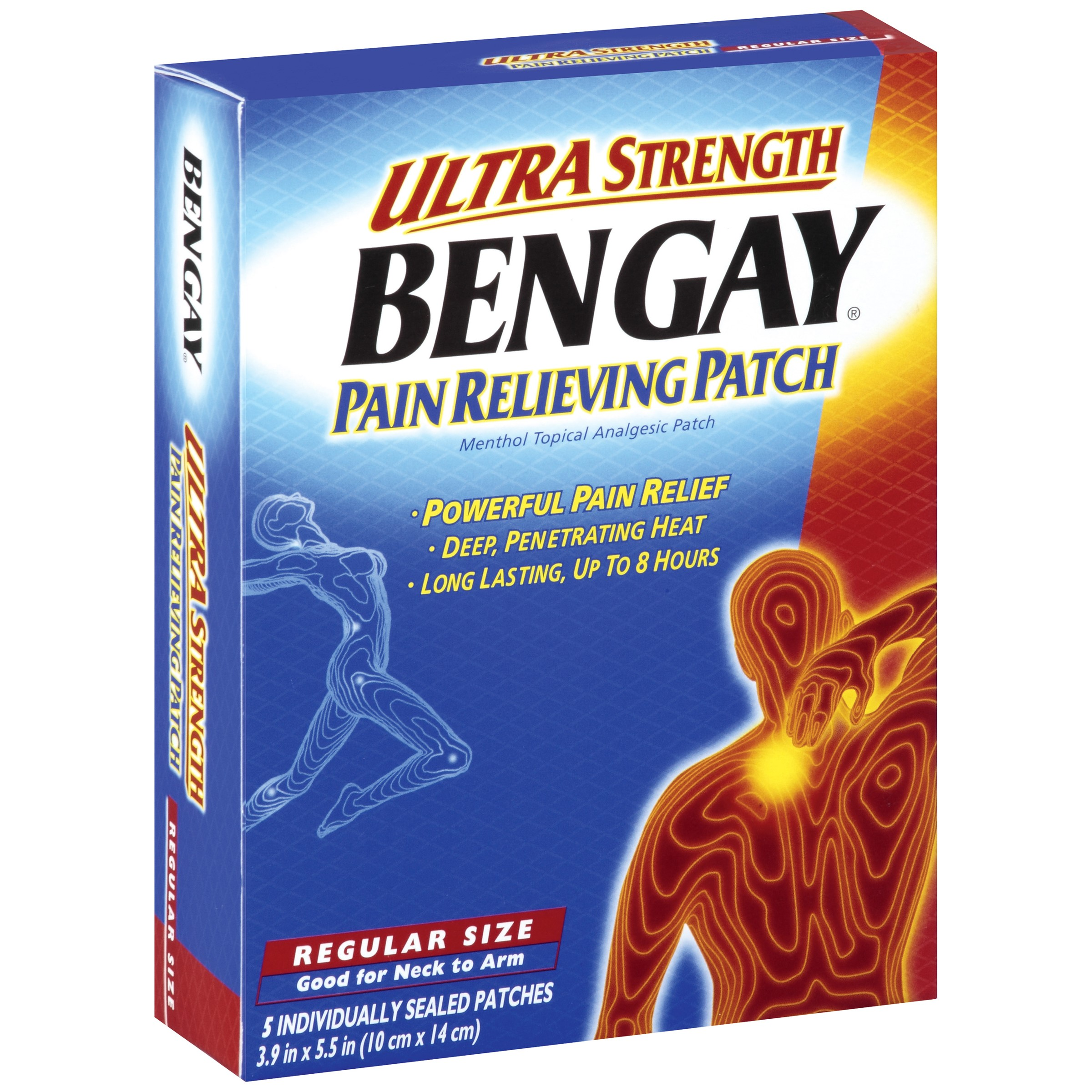 Bengay Ultra Strength, Pain Relieving Patch, Regular Size, 5 Ct