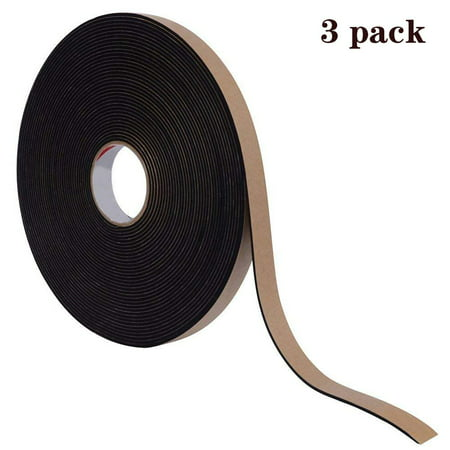 Reactionnx 3Pcs Insulation Foam Seal Tape Strips with Self-Adhesive, Weather Stripping for Windows and Doors, Anti-Collision And Sound Proof Closed Cell(3/5 inch Wide X 1/8 inch Thick X 16 Feet Long)