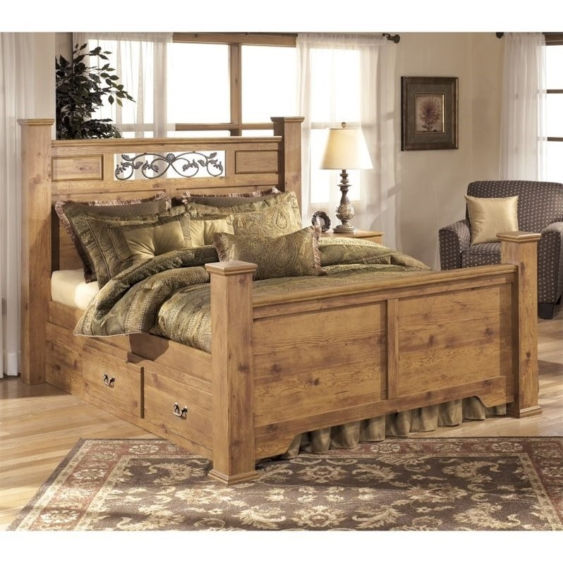 Ashley Bittersweet Wood King Drawer Panel Bed in Light Brown by Ashley Furniture