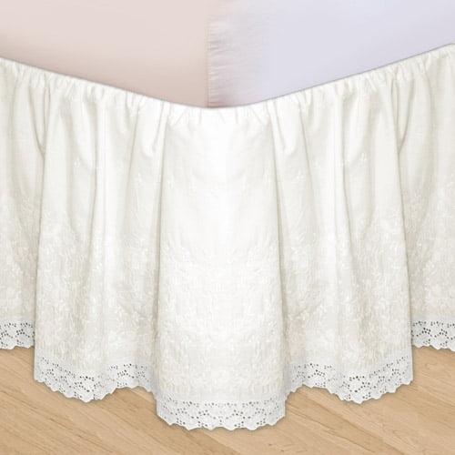 Embroidered 3Piece Adjustable Bed Skirt Walmartcom