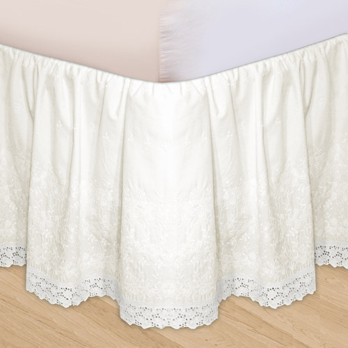 Embroidered 3-Piece Adjustable Bed Skirt