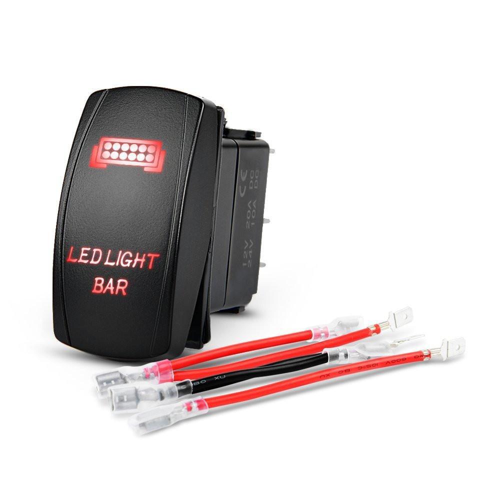 Nilight LED Light Bar Rocker Switch Red 5Pin Laser On/Off LED Light 20A/12V 10A/24V Switch jumper wires set ,2 years Warranty