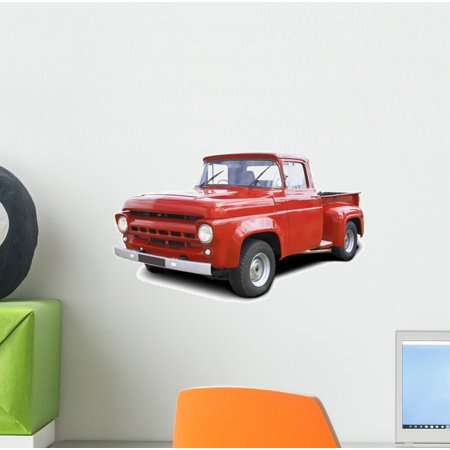 Old Red V8 Pickup Wall Decal by Wallmonkeys Peel and Stick Graphic (12 in W x 7 in H) WM59604